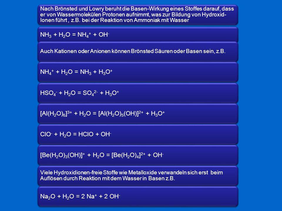 [Al(H2O)6]3+ + H2O = [Al(H2O)5(OH)]2+ + H3O+ ClO- + H2O = HClO + OH-